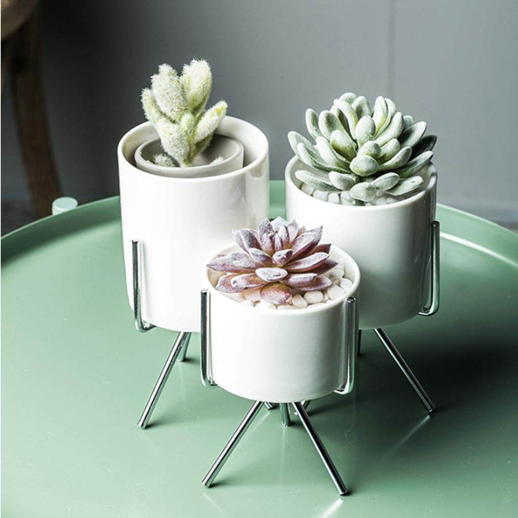 Fityle 2Pcs Nordic Style Metal Plant Stand Rack with Flower Pot Silver S and M