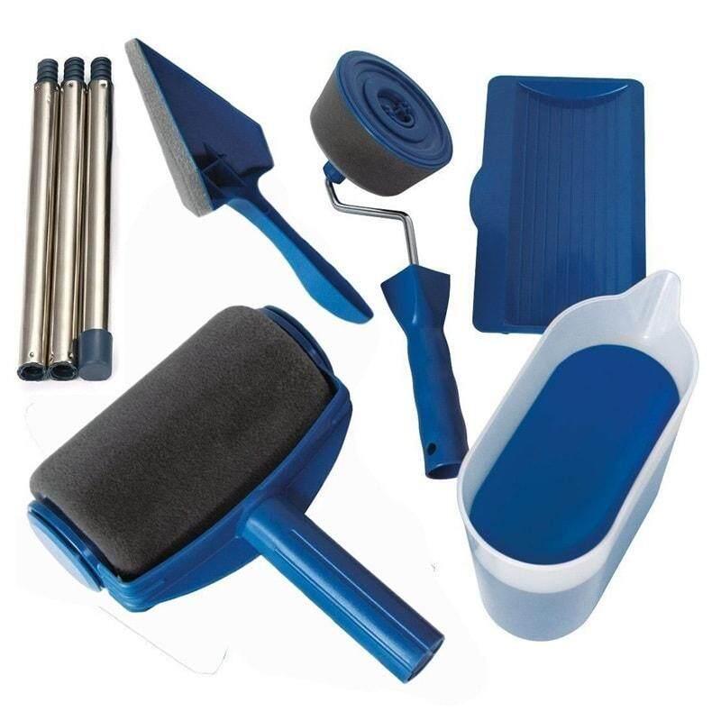 Paint Roller Brush Kit,Paint Runner Pro Brush Handle Flocked Edger Room Wall Printing for Home Office
