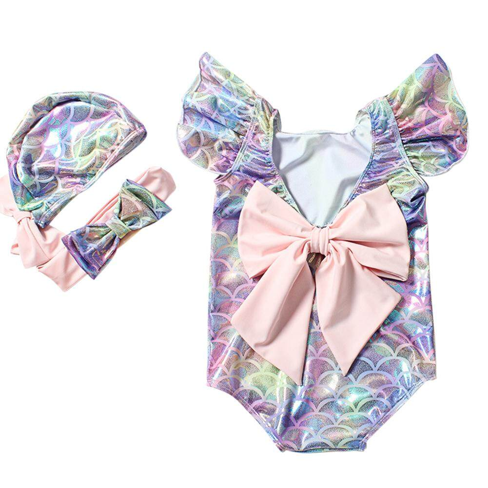 HuaX Baby Girls One-piece Swimwear Hair Band Hat Set for Hot Spring Infant Swimwear Children Clothing