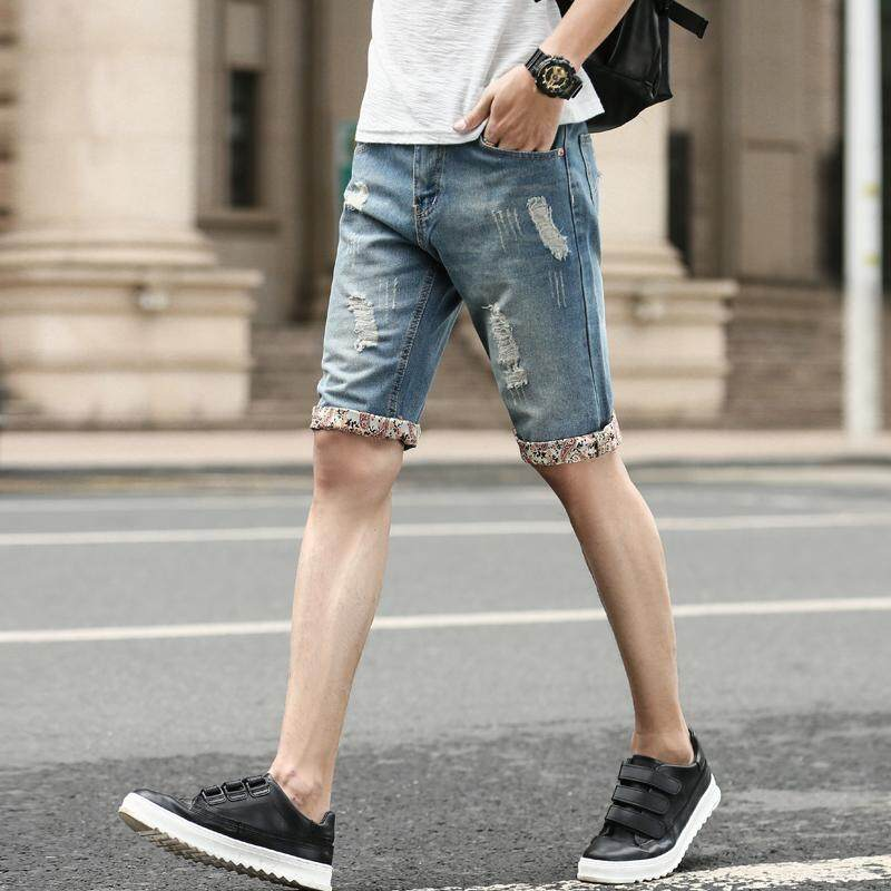 Men Denim Shorts 2019 Summer New Style Thin Section Slim Fit Short Jeans Male Blue By Cozy Official Store.