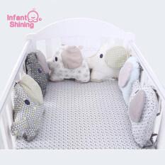 Giường cũi trẻ sơ sinh Infant Shining vải cotton nguyên chất, hình voi, trang trí phòng và chống va chạm, an toàn cho bé – INTL