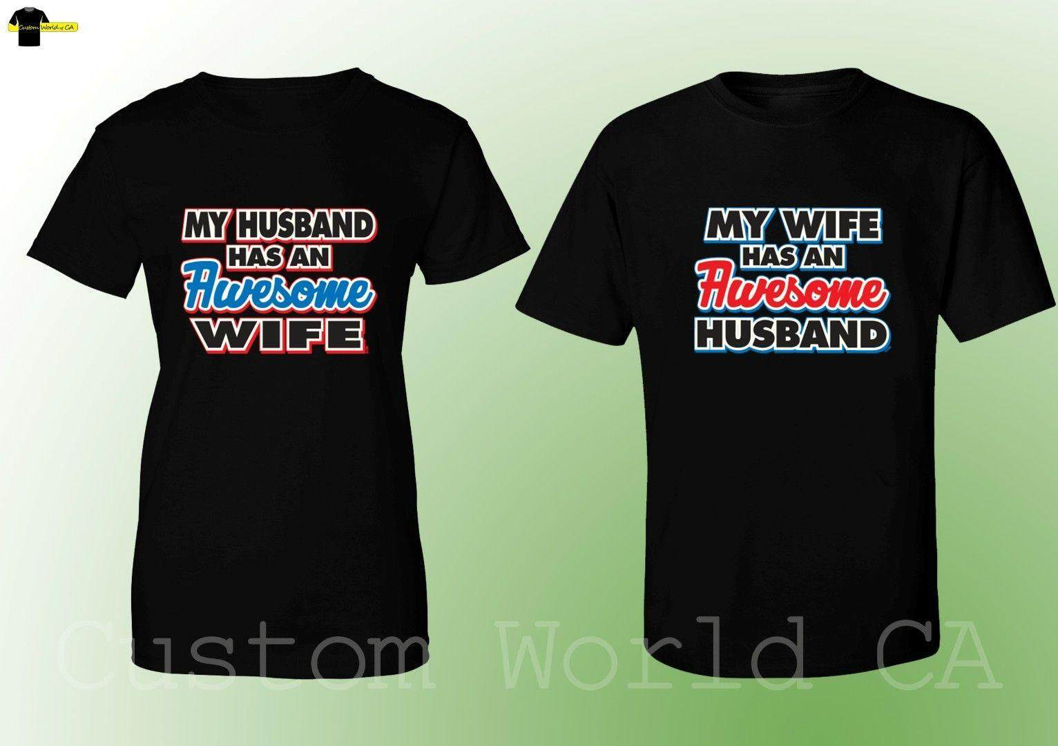 e1cc40a1e HT 2019 Hot Sale 100% cotton Couple Matching T-Shirts - My Husband Wife