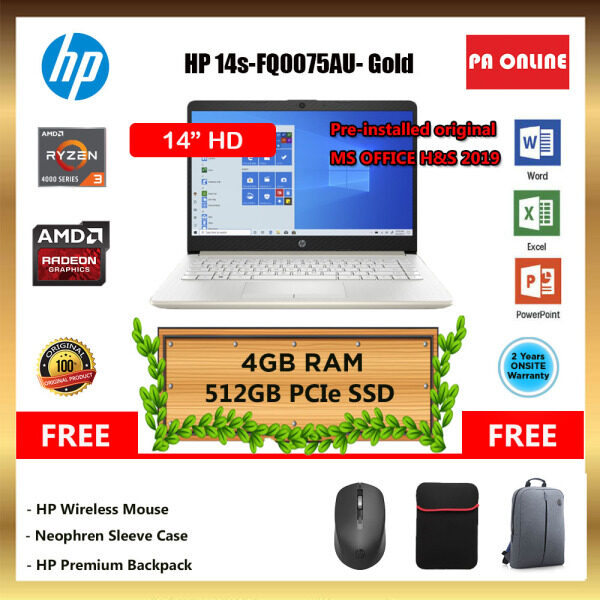 HP 14S-FQ0074AU ( 20GB RAM ) - AMD Ryzen 3-4300U /8GB-20GB RAM /512GB SSD /14 HD LED /AMD Radeon Graphic /Win 10 /MS Office /2 Years Malaysia