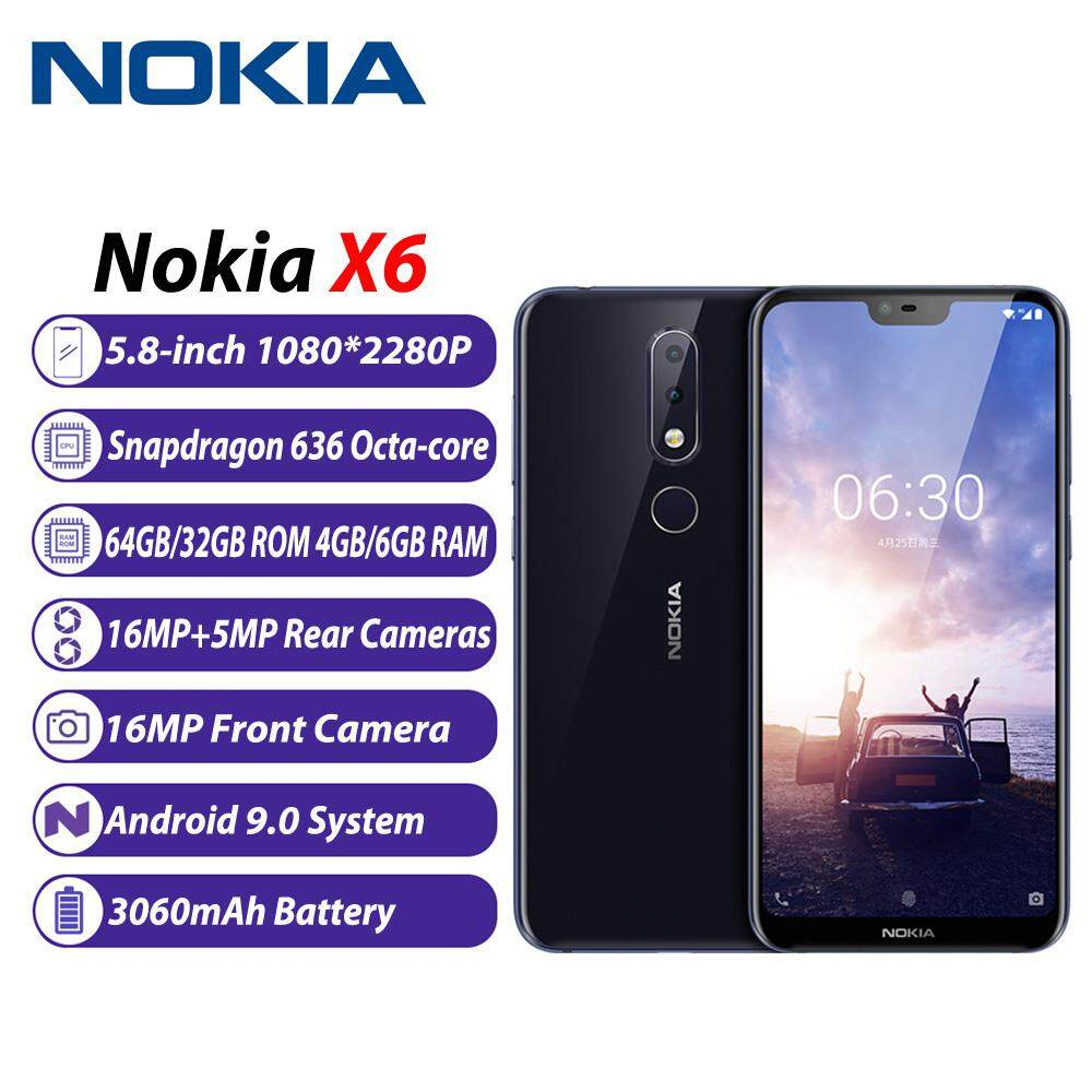 Nokia X6 6 1 Plus 4G Mobile Phone 64GB ROM 4GB RAM 16MP+16MP Cams 5 8-inch  Notch FHD+ 19:9 Display Android9 0 Snapdragon 636 Octa Core 3060mAh