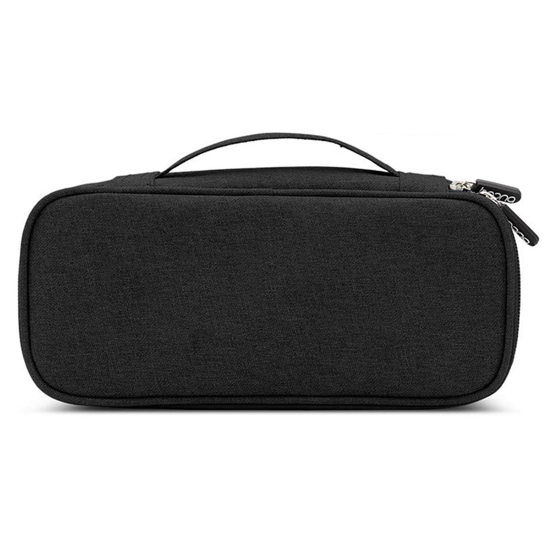 25x11x5.5cm Scratchproof Durable Oxford Cloth Electronics Digital Accessories Storage Bag Case Organizer for Man Woman Travel Business Trip balck