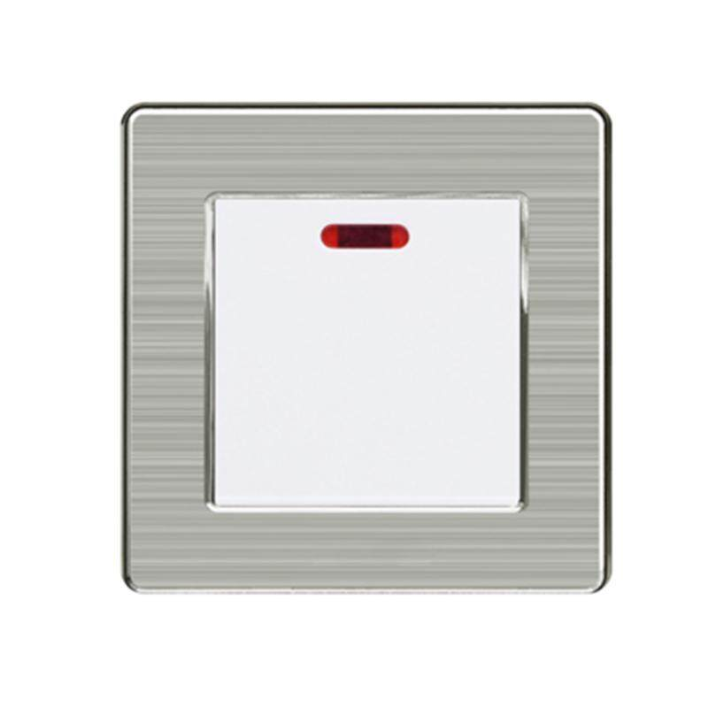 1 gang 20A wall switch and stainless steel panel light switch with white color push button water heater switch