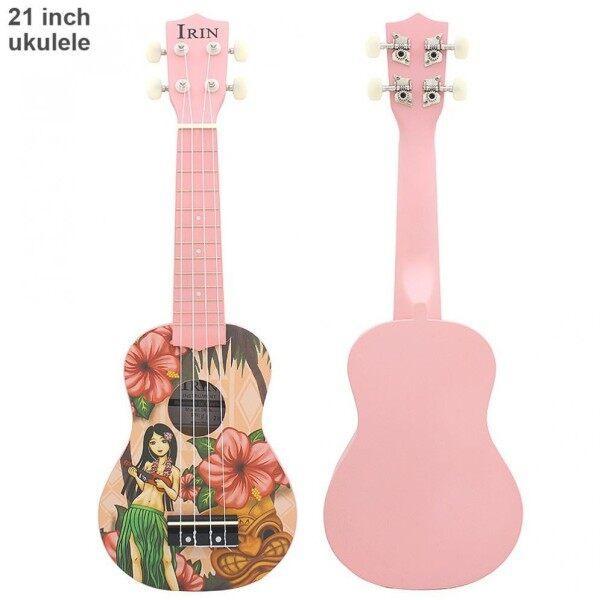 Đàn Ukulele 21 Inch Màu Hồng Hawaii Cô Gái 12 Phím Đàn 4 Dây Đàn Guitar Nhỏ Nhạc Cụ Hoa