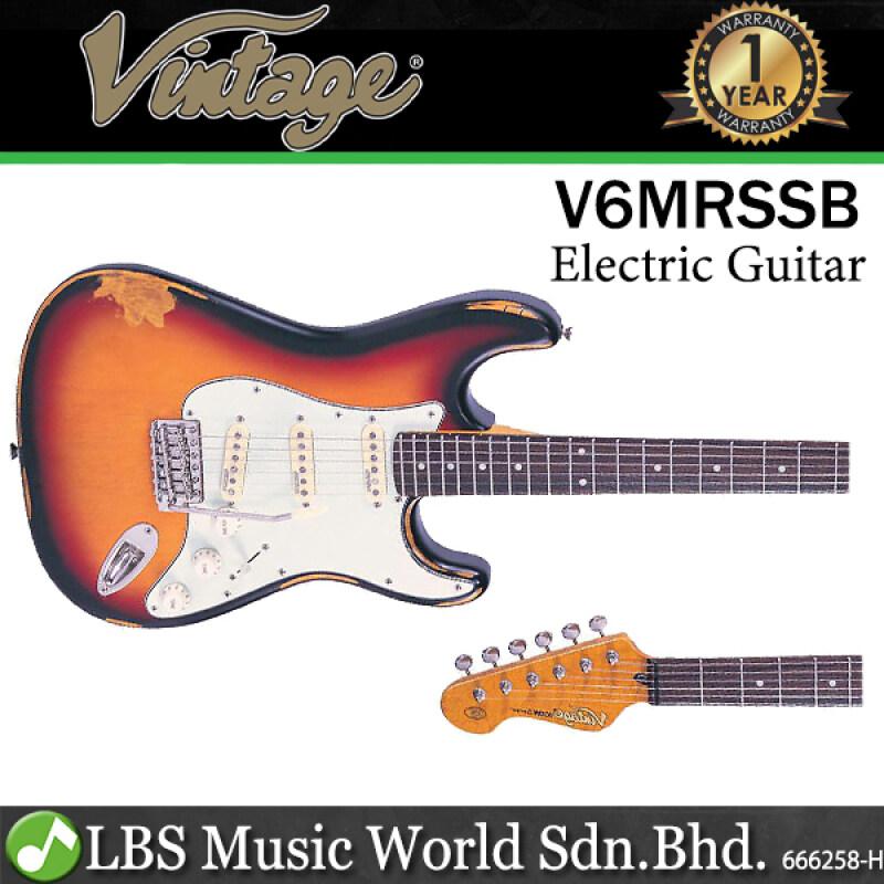 Vintage V6MRSSB Icon Series Eastern Poplar Body HSS Pickup Electric Guitar Distressed Sunburst (V6 MRSSB) Malaysia