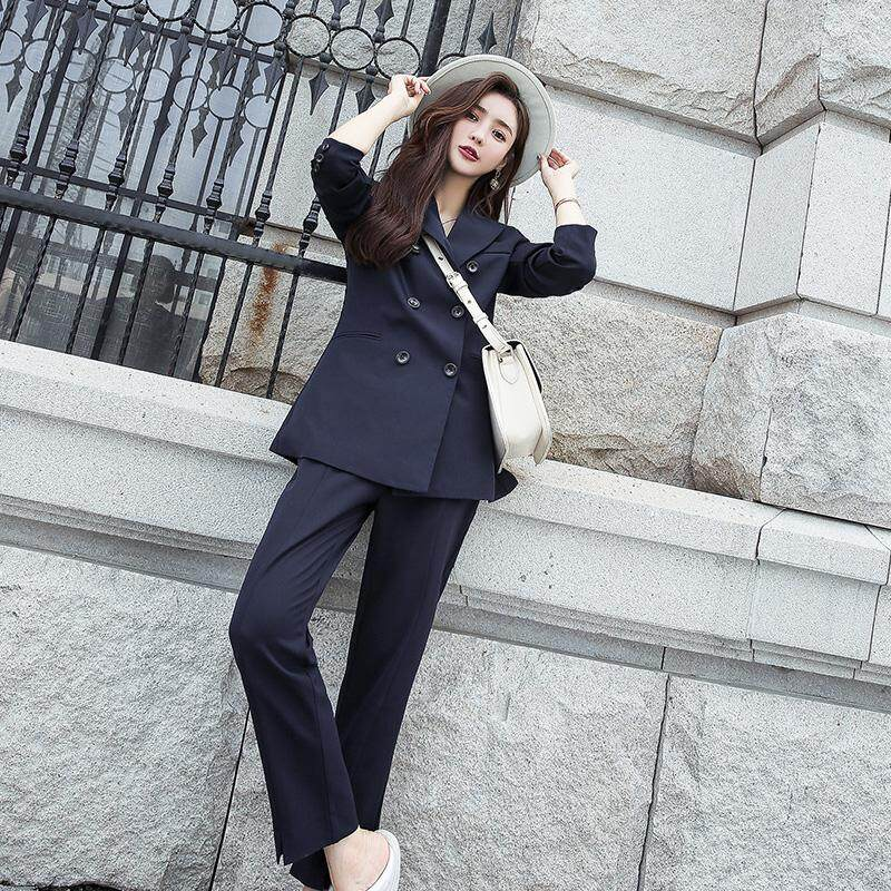 Spring New Long Sleeve V-neck Slim Suit Fashion High Waist Pant Two Pieces  for c728caf83210