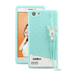 Fabitoo Cute ice cream silicone back cover case For OPPO A33 With lanyard