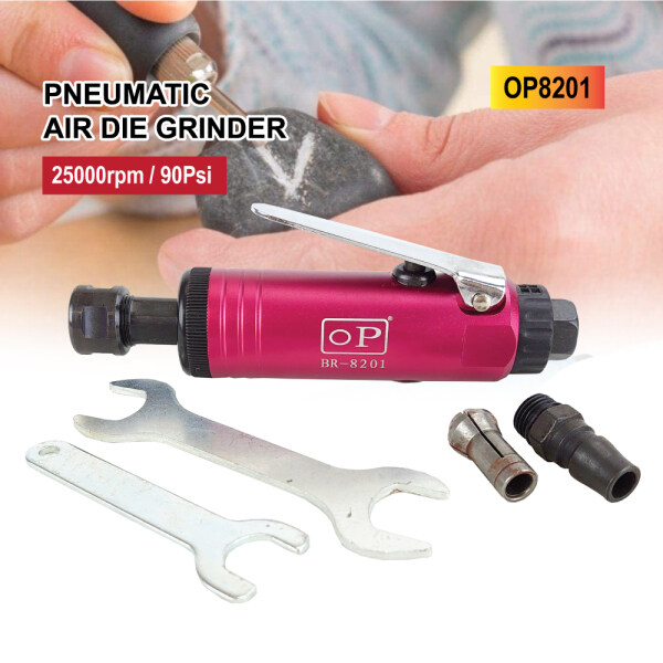 Pneumatic Air Die Grinder 90Psi Alloy Chrome Red 25000rpm OP8201 Grinding Tool for Mold Hardware Engraving Tool