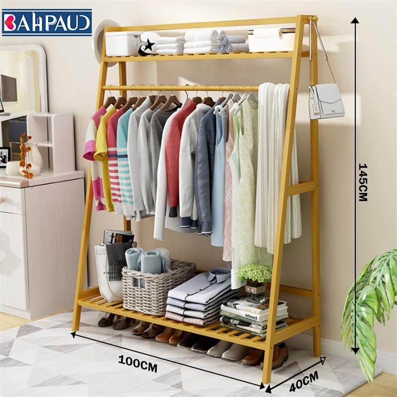 BAHPAUD Trapezoidal Wood Coat Rack Simple Storage Rack Bedroom Home Floor Rack Bamboo 145*100*40 Cm