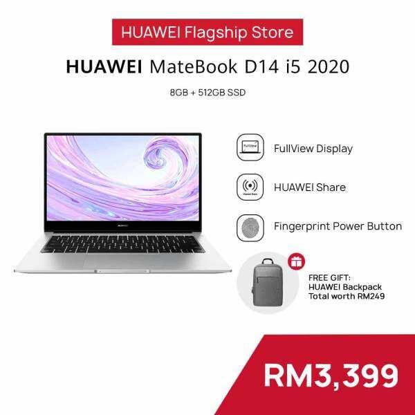 HUAWEI MateBook D 14 i5 (8GB+512GB) + FREE Backpack |  | Intel Core i5-10210U |  NVIDIA GeForce MX250 |  Free Shipping Malaysia