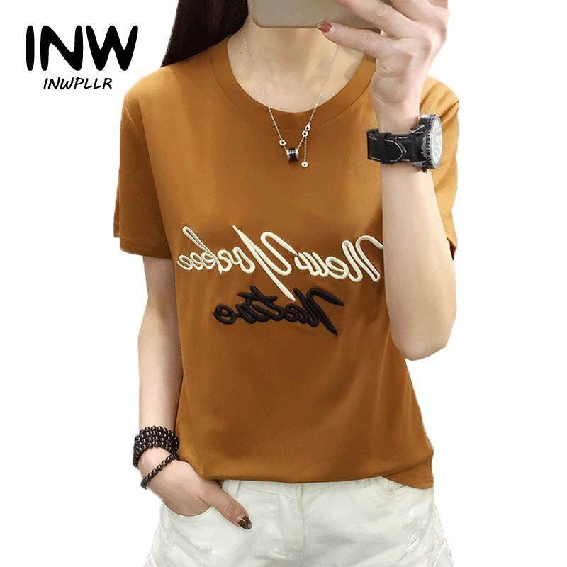 INWPLLR Korean-style T shirt For Women Casual Short Sleeve Tees Letter  Embroidery Tshirt Summer aca036b84a08
