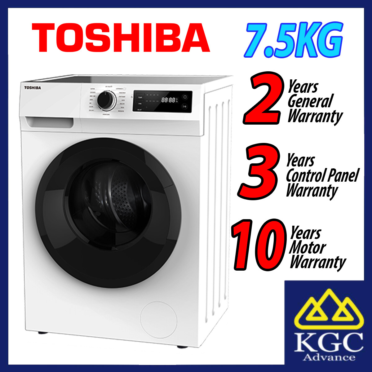 TOSHIBA 7.5KG FRONT LOAD REAL INVERTER WASHER TW-BH85S2M (Free Shipping)
