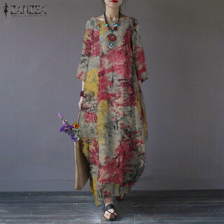 [Free Shipping] Đầm kaftan hoa ZANZEA cho nữ, dài tay, dáng rộng, in họa tiết cổ điển thumbnail