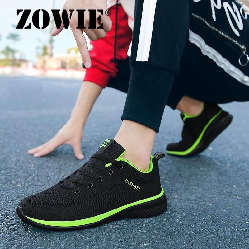 Zowie Sneaker Flykit untuk Pria Ukuran Plus 38-46 Fashion Mesh Sepatu Olahraga Lari Sepatu