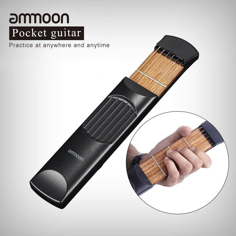 Ammoon Saku Portabel Akustik Latihan Gitar Alat Gadget Pelatih Kord 6 String 4 Fret Model untuk Pemula