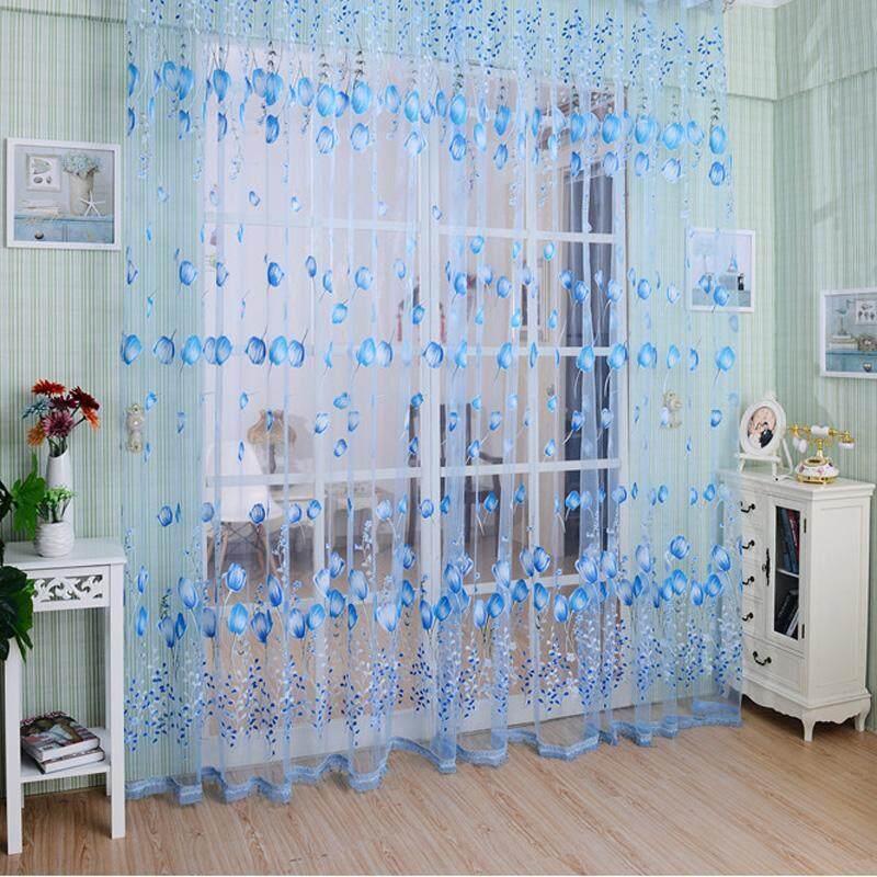 VAKIND Rèm cửa/màn che hoạ tiết hoa tulip đẹp bằng voan có kích thước 1x2m, giá tốt - Cheerfulhigh - INTL