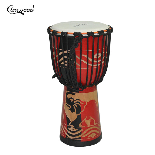 【Flash Deal】Camwood 8inch Wooden African Drum Djembe Bongo Congo Hand Drum Percussion Musical Instrument Mahogany Material with Red Elepant Pattern