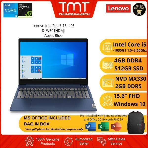 Lenovo IdeaPad 3 15IIL05 81WE01HDMJ Blue Laptop   i5-1035G1   4GB RAM 512GB SSD   15.6 FHD   MX330   W10  MS OFFICE+BAG Malaysia