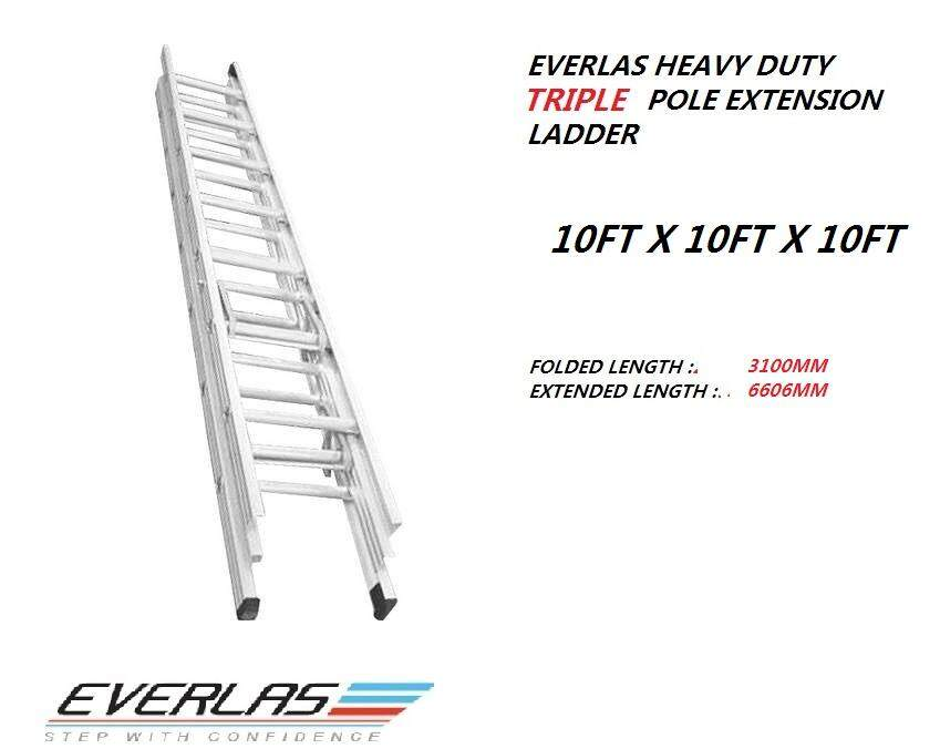 Everlas ET10DR 21 Rungs Heavy Duty Triple Extension Ladder~ 10X 10 X10(FEET)