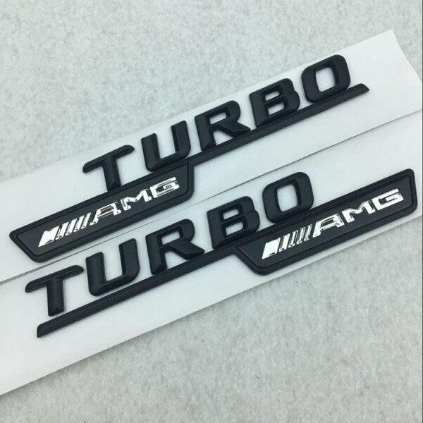 1 Cặp Biểu Tượng TURBO AMG 3D Nhãn Dán Biểu Tượng Phía Sau Cốp Xe Phía Sau Cho Mercedes Benz Matte Đen