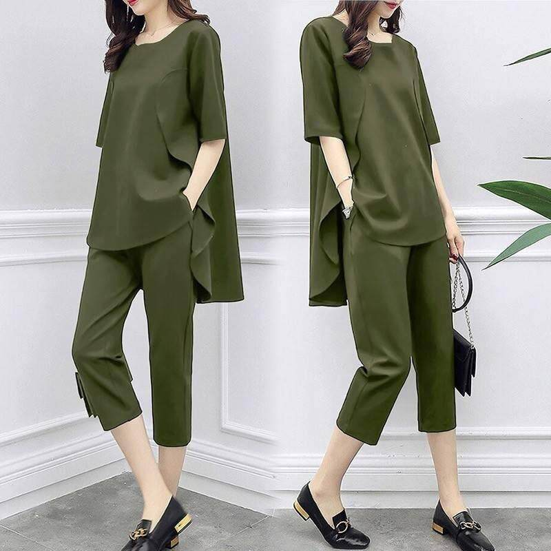 Large Size Womens 2019 Spring And Summer New Suit Seven Pants Two Sets Top+pant By Likemy.