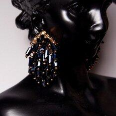 Fashion Dark Blue Bohemian Crystal Beads Chunky Dangle Earrings For Women By Special Jewelry.