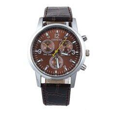 Fashion Women Geneva Leather Band Analog Dial Quartz Wrist Watch Coffee Malaysia