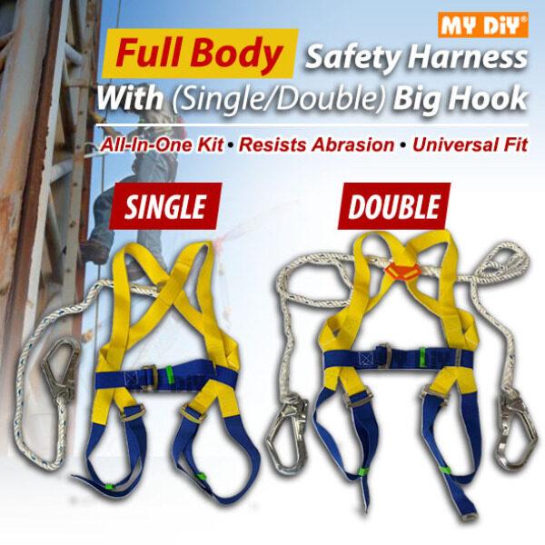 MYDIYHOMEDEPOT - Full Body Heavy Duty Safety Harness With Hook / Worker Full Body Safety Belt / Parachute Type Safety Belt / Single Hook or Double Hook