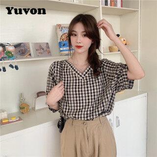 Áo Kiểu Yuvon Cho Nữ, Ngắn Tay, Cổ Chữ V, Phong Cách Hàn Quốc, Mặc Mùa Hè thumbnail