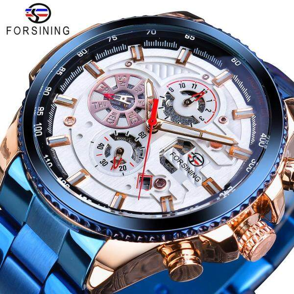 Forsining Blue Stainless Steel Calendar Display Mens Military Automatic Sport Wrist Watches Top Brand Luxury Male Clock Relogio Malaysia