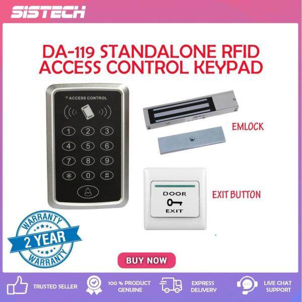 DA-119 Magnetic Standalone RFID Keypad Door Access Security System [EMlock+Push Exit Button]