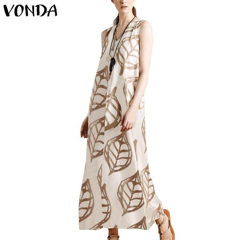 21bc1a35ab VONDA Women Summer Printed Leaf Vintage Loose Maxi Long Dress Sleeveless  Plus Dresses