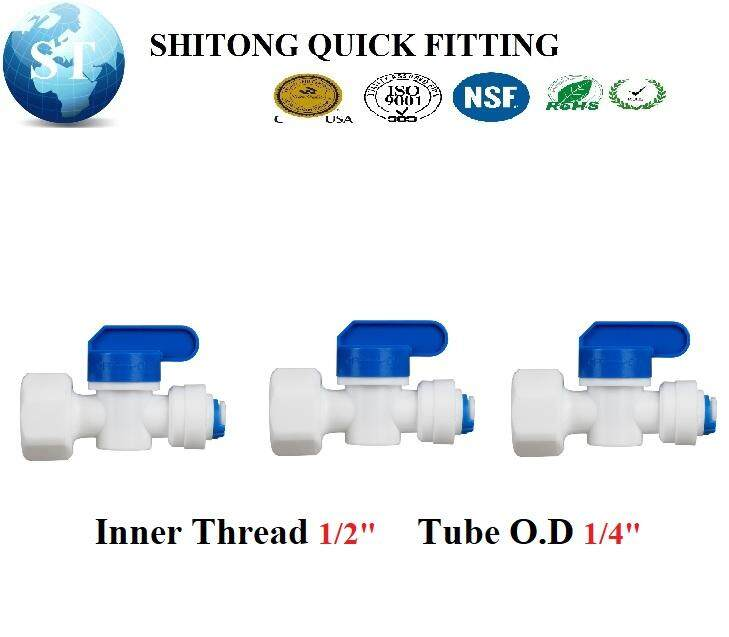 WATER FILTER RO BALL VALVE INNER THREAD 1/2 X 1/4 OD TUBE CONTROLLER BALL VALVE PE PIPE QUICK FITTING HOSE STRAIGHT X 3PCS ST012A