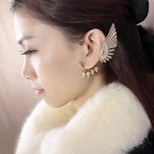 Bodhi Women Punk Gothic Rhinestone Wing Skulls Ear Cuff Clip Hook Earring For Left Ear By Bodhi.