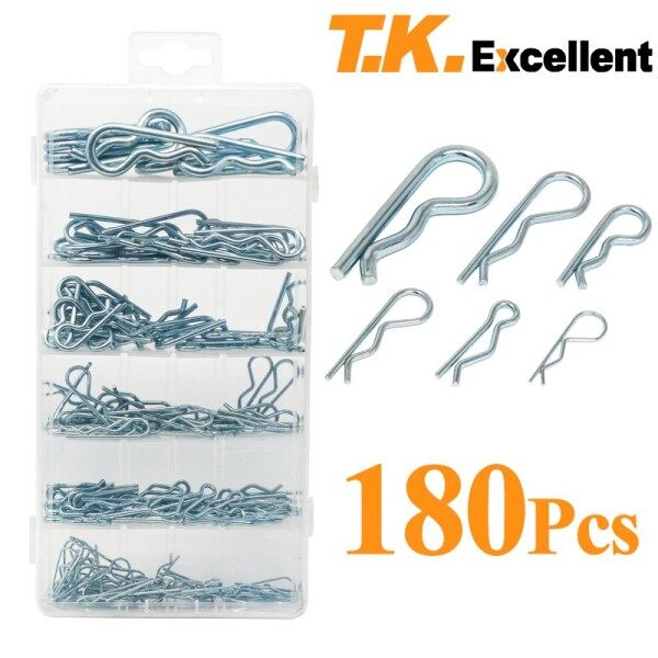 T.K.Excellent Hitch Pin zinc plated long lasting life Assortment Hairpin Cotter Pin 176pcs for Use on Hitch Pin Lock System Silver