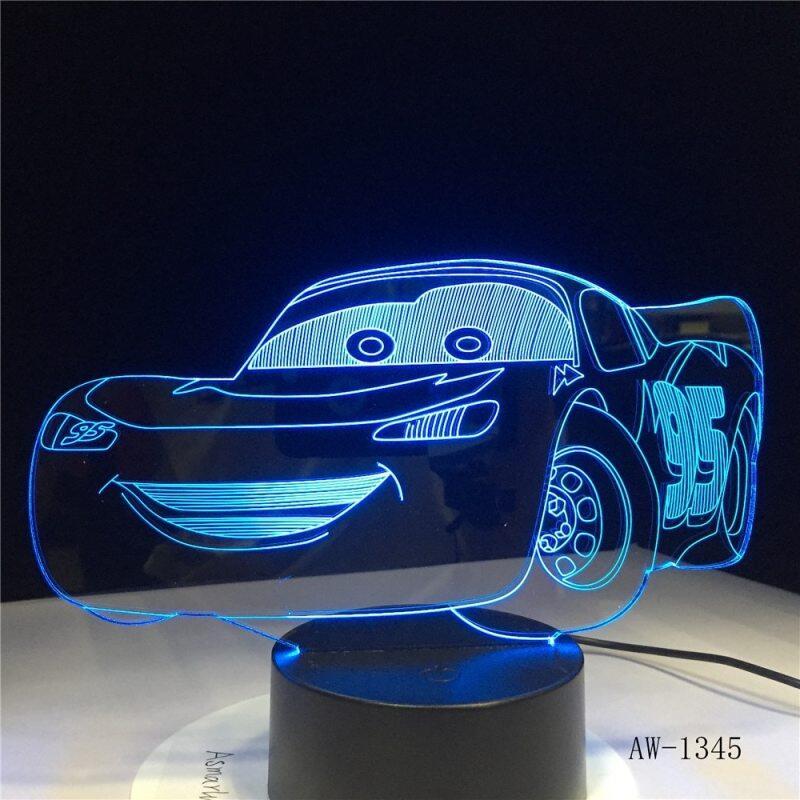 Bảng giá Lightning McQueen Route 66 Xe Đua Của Bạn 3D 7 Màu Đèn Đèn Ngủ Led Trực Quan Cho Trẻ Em Cảm Ứng Usb Bảng Lampara AW-1345 Phong Vũ