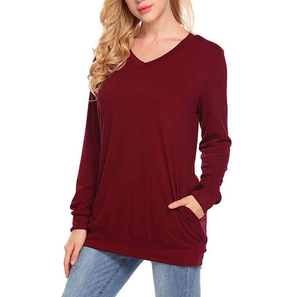 f3830b9f Aiipstore Womens Long Sleeve Tunic Tops Casual Sweatshirts V Neck Pullover  Blouse