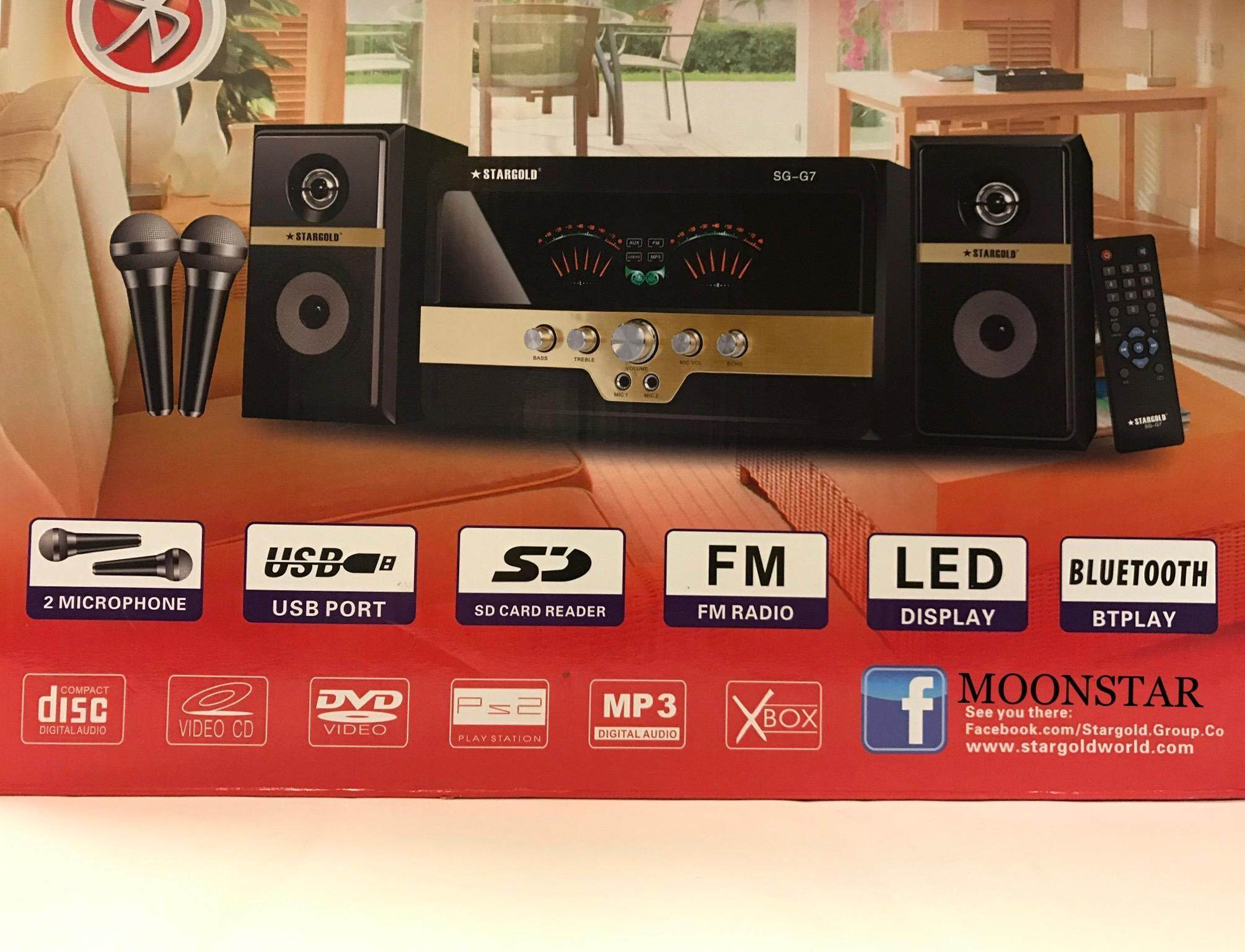 Home Theater System 2.1 Channel + Karaoke System + (2pce Microphone Free, 1pce Wireless Mic + 1pce Wire Mic Save Rm 100)+fm Radio+bluetooth+ Mic Input 2 By Moonstar.