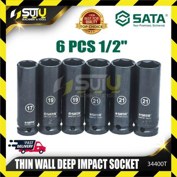 Sata 34400T 6pcs 1/2DR 6pt Thin Wall Deep Impact Socket Set