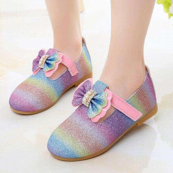 Giá bán Giày Liuyehumall Công Chúa Cho Trẻ Em, Giày Đơn Giản Đính Pha Lê Ngọc Trai Hình Nơ Lấp Lánh Cho Bé Gái Trẻ Nhỏ