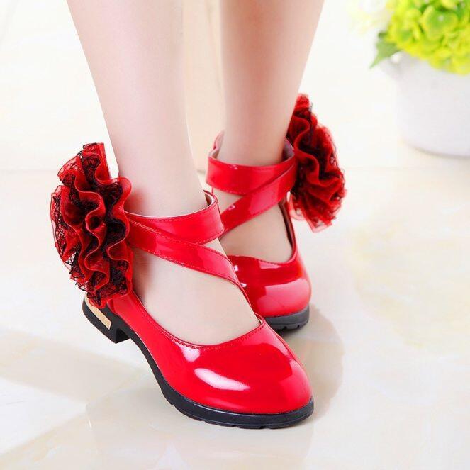 Mùa Thu Mới Bé Gái Giày Đế Bệt Thời Trang Hoa Giày Công Chúa Phong Cách La Mã Trẻ Em Trẻ Em Giày Dự Tiệc giá rẻ