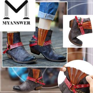 MyAnswer Bốt Cho Nữ Giày Cổ Điển Tua Rua In Nhiều Màu Phong Cách Dân Tộc Mũi Tròn thumbnail