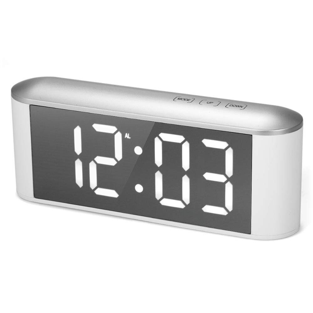 Aolvo LED Mirror Alarm Clock, USB Rechargeable Touch Screen Digital Alarm Clock Temperature display with 3 Brightness Modes Snooze Time Temperature Function for Kids/Office/Home