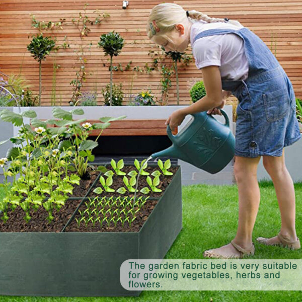 1 Pack Fabric Raised Planting Bed, 4 Divide Grids Fabric Raised Garden Bed For Vegetable Planter