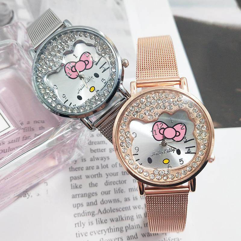 Hello Kitty Cute Kids Watch Fashion Waterproof Quartz Stainless Steel Diamond Girls Lady Rose Gold Cartoon Lovely ChildrenStudent Wristwatches Malaysia