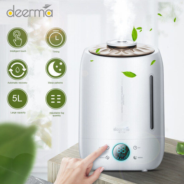 Deerma DEM-F600 5L Household Air Humidifier Aroma Diffuser Oil Ultrasonic Fog Touch Screen Home Water Diffuser Singapore