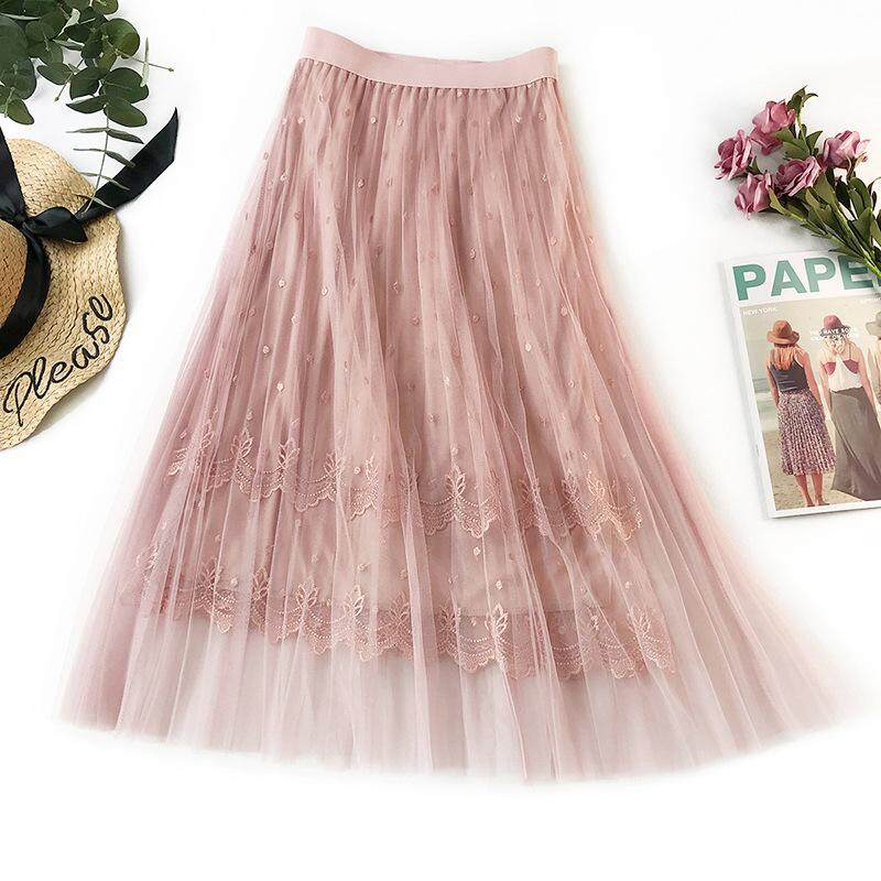 ea5b5c5a08 New Women Summer Long Tulle Skirt Gradient Elegant High Waist Lace  Embroidery A-line Skirts